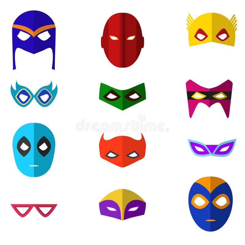 Ícones da cor da máscara do super-herói dos desenhos animados ajustados Vetor ilustração royalty free