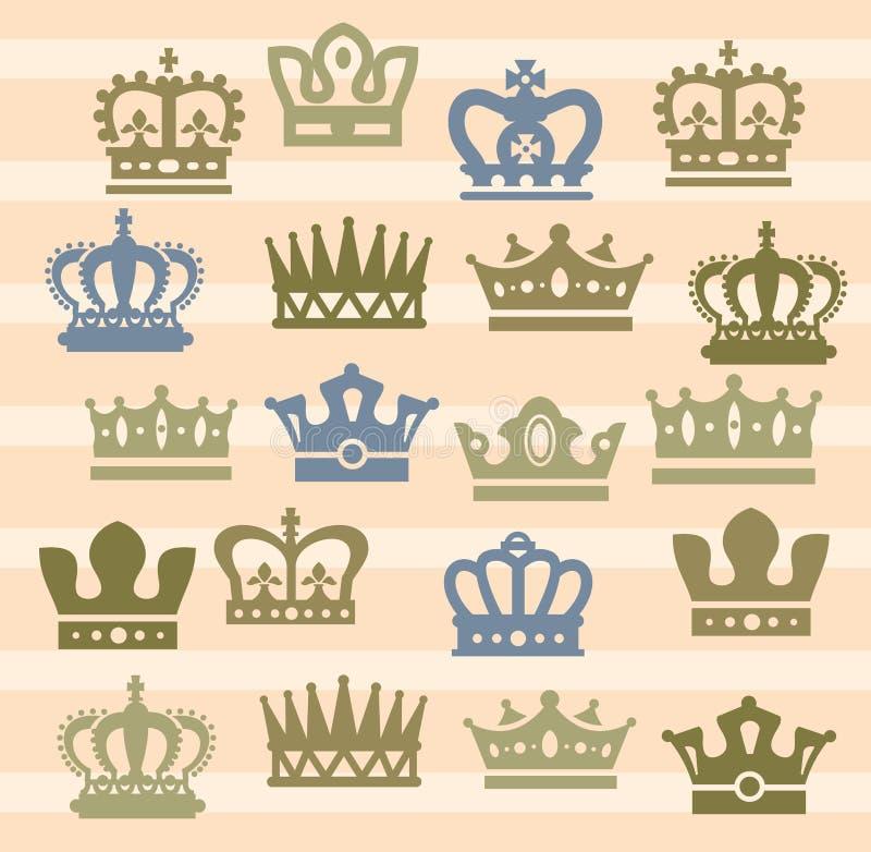 Ícones da coroa ilustração stock