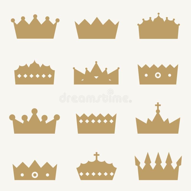 Ícones da coroa ilustração do vetor