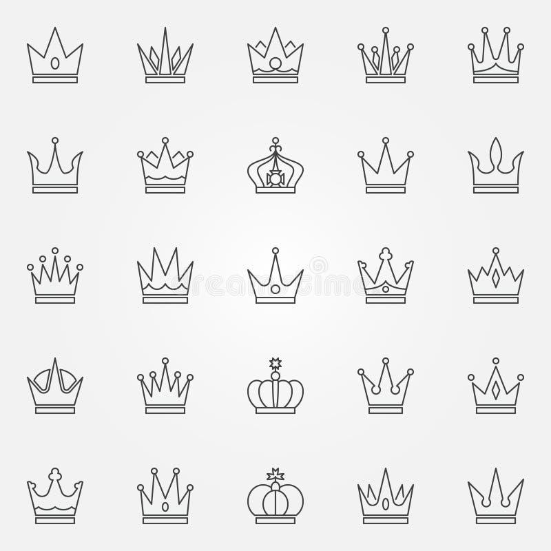 Ícones da coroa ajustados ilustração stock