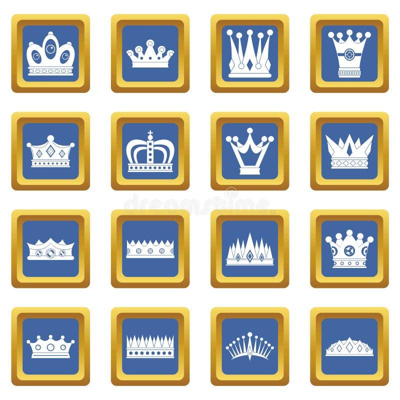 Ícones da coroa ajustados azuis ilustração royalty free