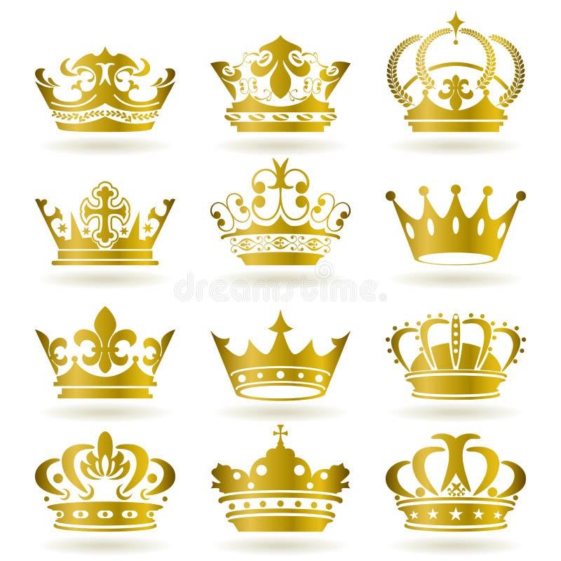 Ícones da coroa do ouro ajustados ilustração royalty free