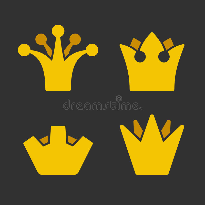 Ícones da coroa do ouro ajustados no fundo escuro Vetor ilustração do vetor