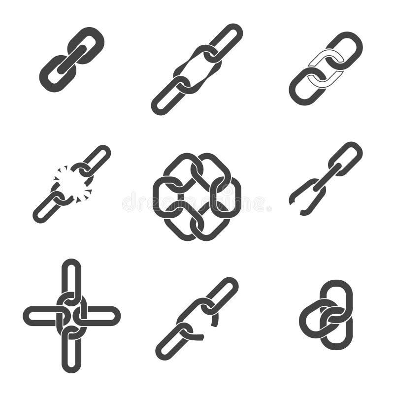 Ícones da corrente ou da relação ajustados ilustração stock
