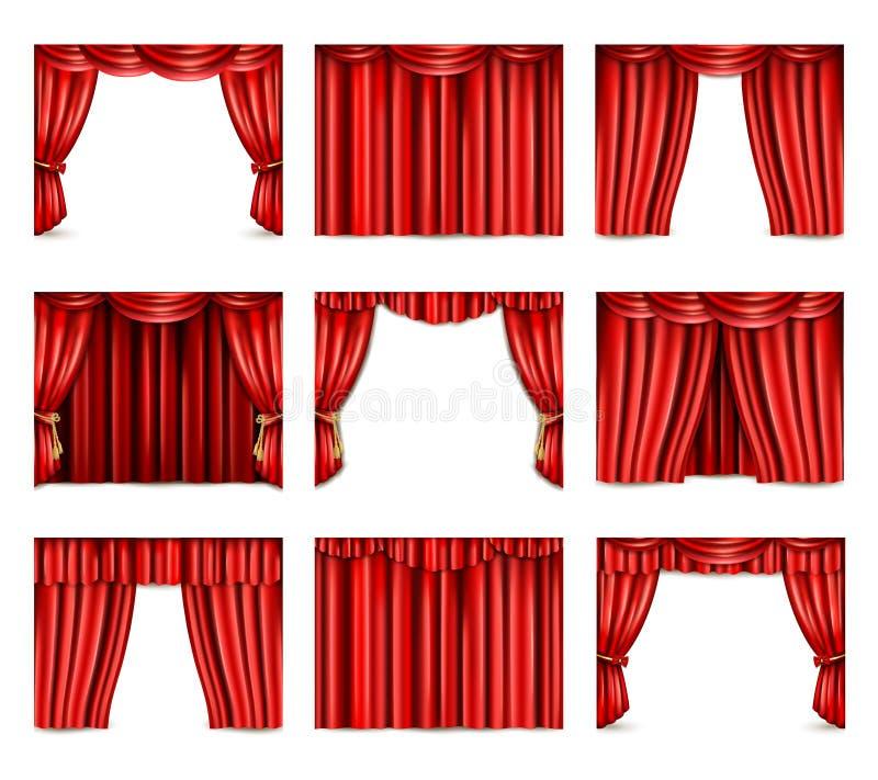 Ícones da cortina do teatro ajustados ilustração stock