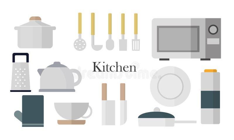Ícones da cozinha ajustados ilustração stock