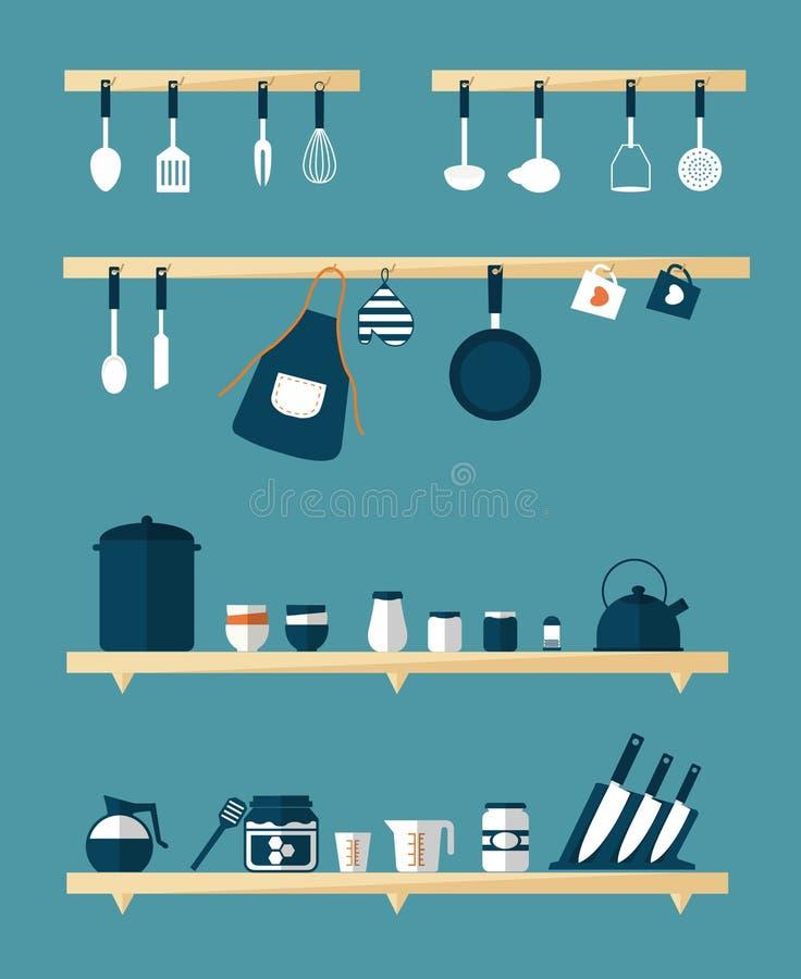 Ícones da cozinha, vetor ilustração royalty free
