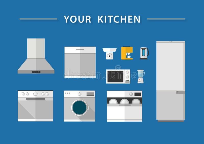 Ícones da cozinha, vetor foto de stock royalty free