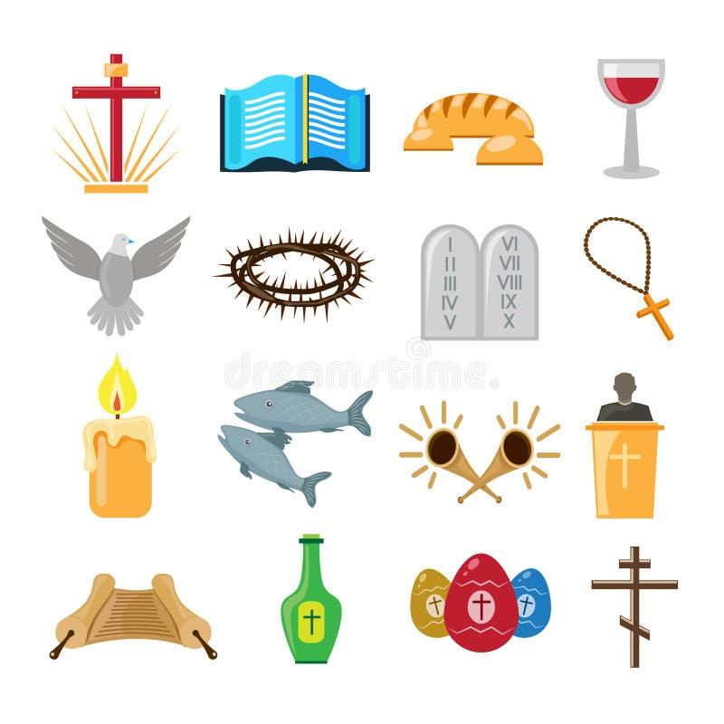 Ícones da cristandade ajustados ilustração do vetor