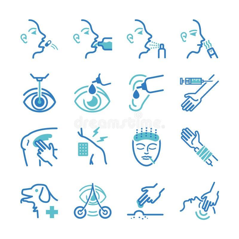 Ícones da cura ajustados ilustração do vetor