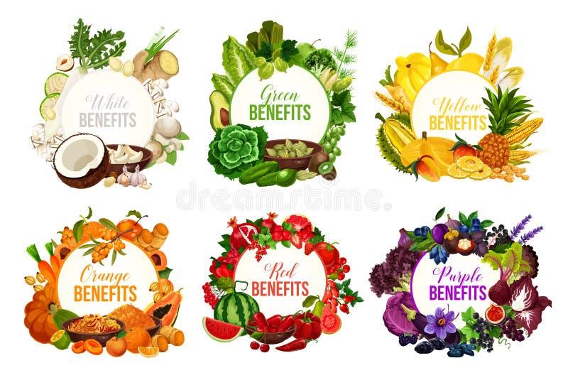 Ícones da dieta da cor da desintoxicação com frutas e legumes ilustração stock