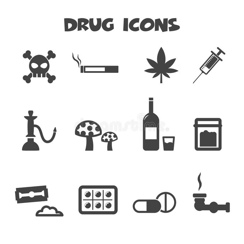 Ícones da droga ilustração royalty free