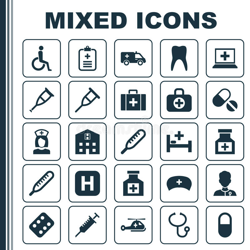 Ícones da droga ajustados Coleção da pelota, saco cirúrgico, baby-sitter And Other Elements Igualmente inclui símbolos como compr ilustração royalty free