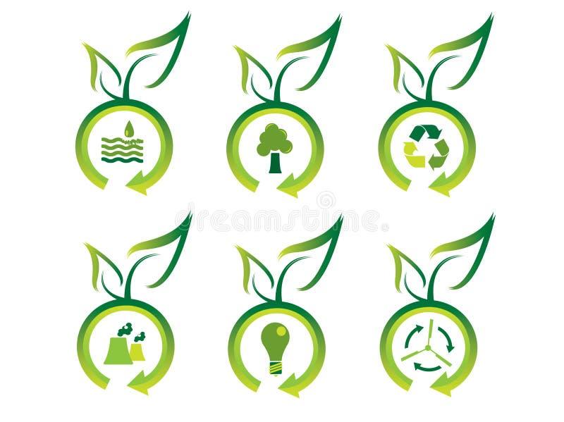 Ícones da ecologia ilustração stock