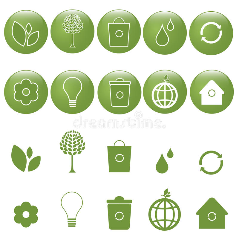 Ícones da ecologia ajustados - vetor ilustração royalty free