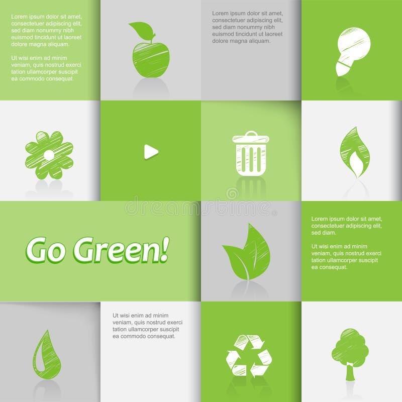 Ícones da ecologia no fundo telhado verde. ilustração do vetor
