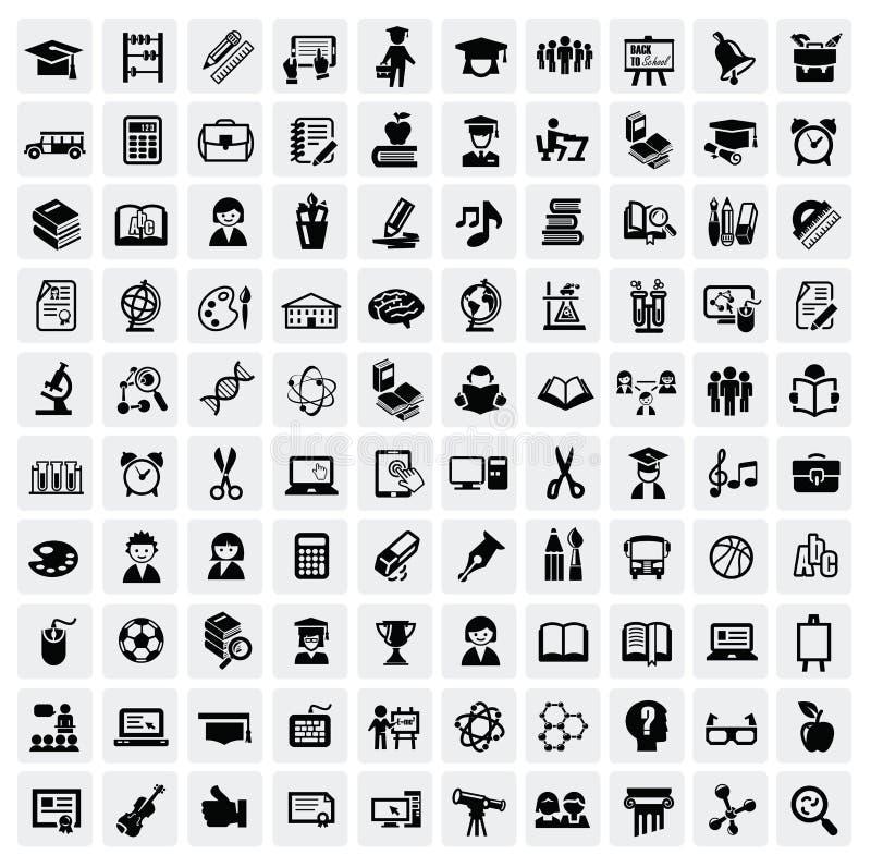 Ícones da educação ilustração stock