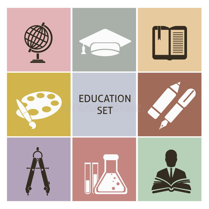 Ícones da educação ilustração royalty free
