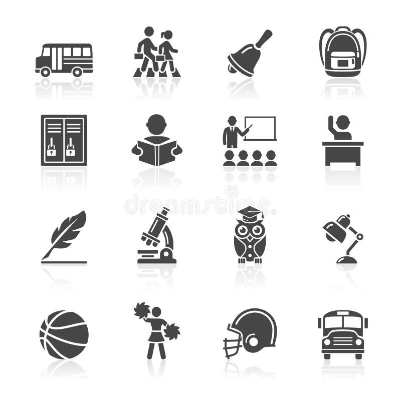 Ícones da educação ajustados. ilustração do vetor