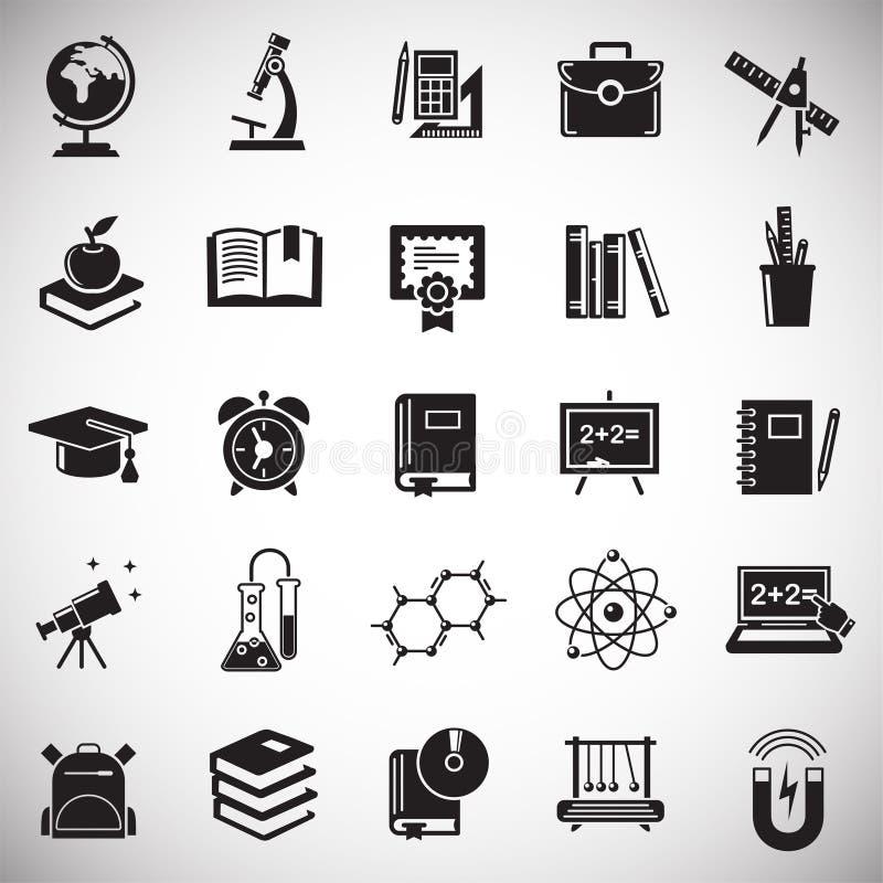 Ícones da educação ajustados no fundo branco para o gráfico e o design web, sinal simples moderno do vetor Conceito do Internet S ilustração stock