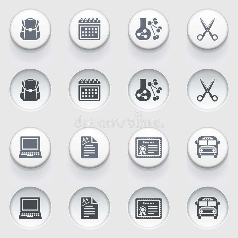 Ícones da educação nos botões brancos. Grupo 2. ilustração royalty free