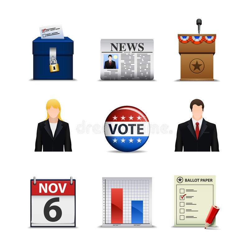 Ícones da eleição ilustração royalty free