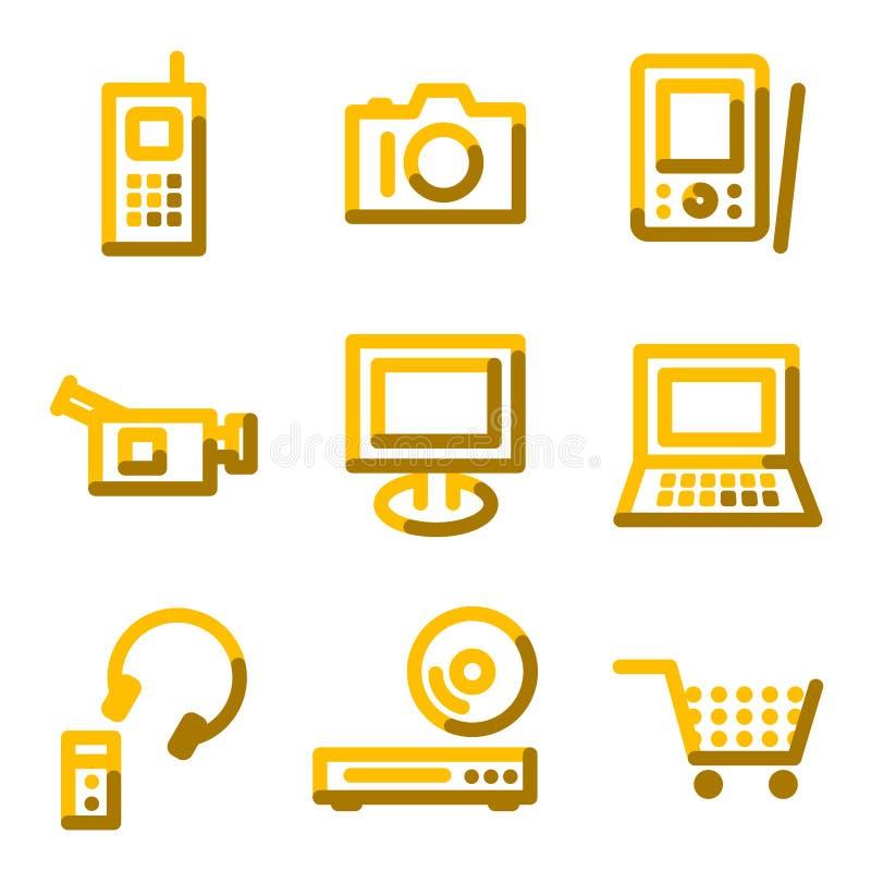 Ícones da eletrônica ilustração stock