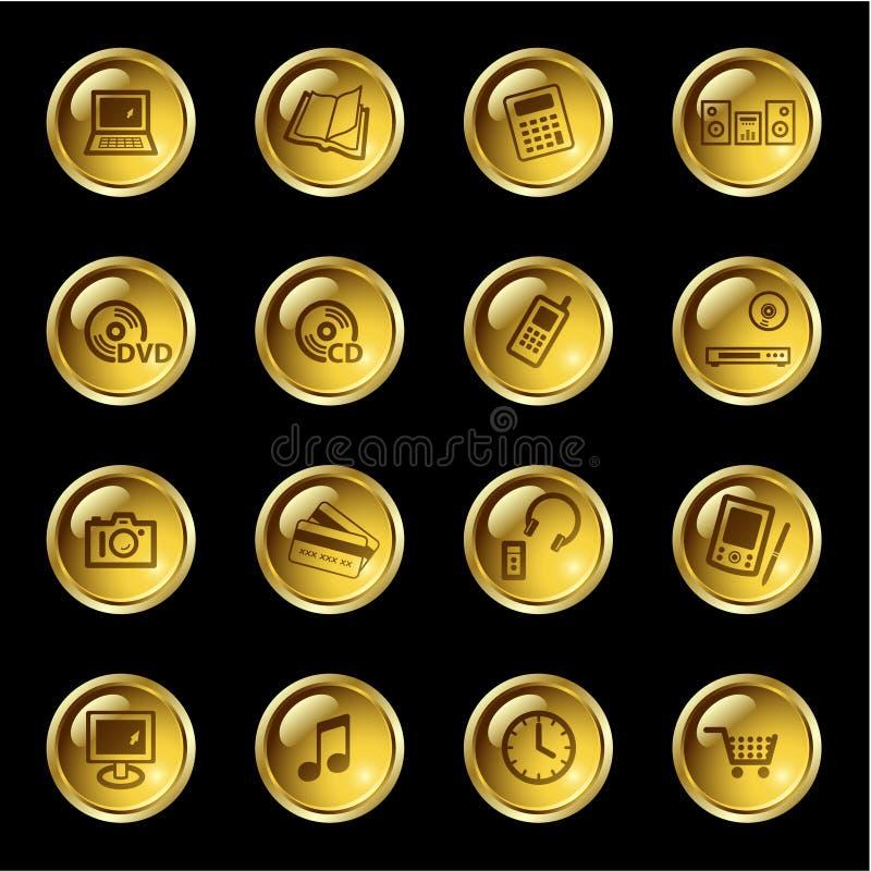 Ícones da eletrônica da gota do ouro ilustração stock