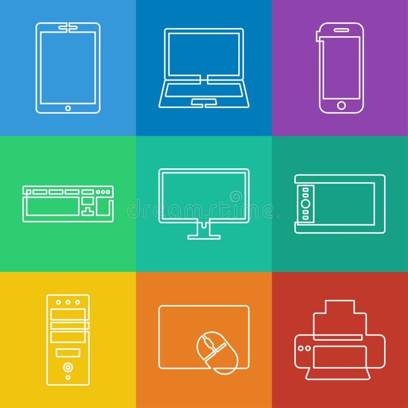 Ícones da eletrônica ilustração do vetor