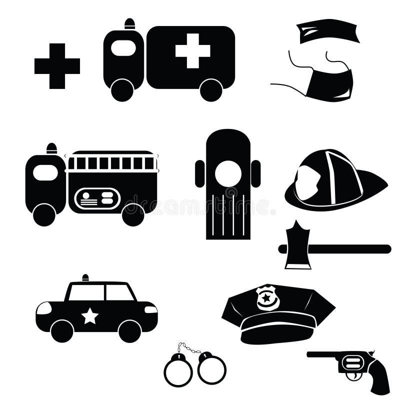 Ícones da emergência ilustração do vetor