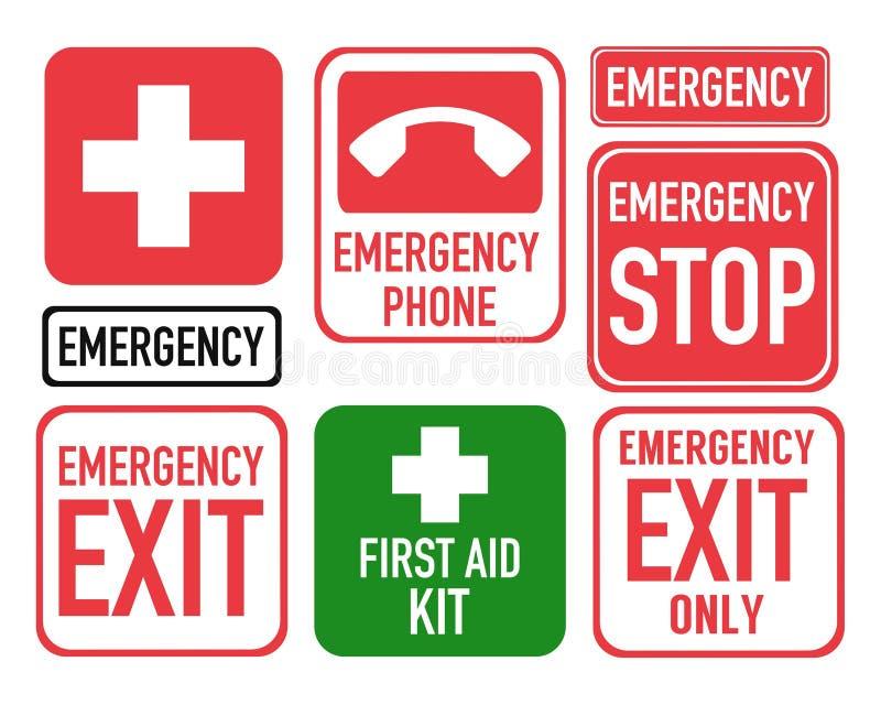 Ícones da emergência dos primeiros socorros ajustados ilustração stock