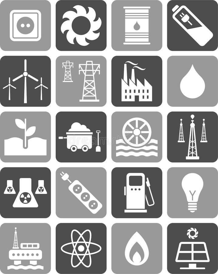 Ícones da energia ilustração do vetor