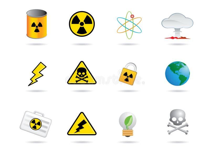 Ícones da energia nuclear ilustração do vetor