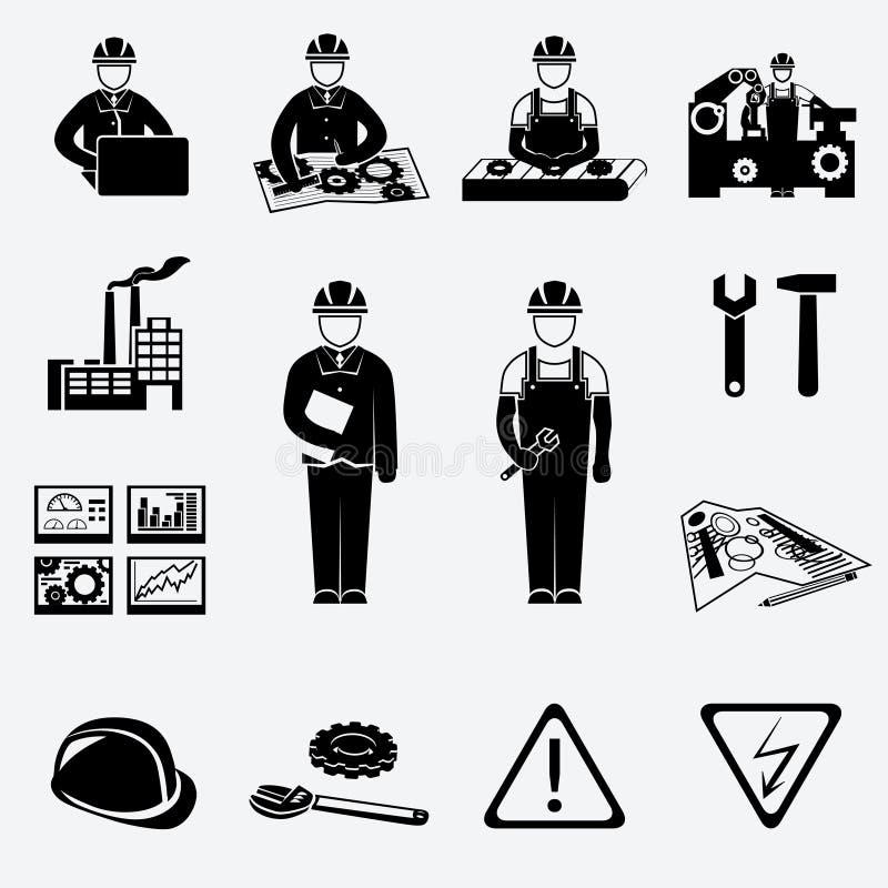 Ícones da engenharia ajustados ilustração stock