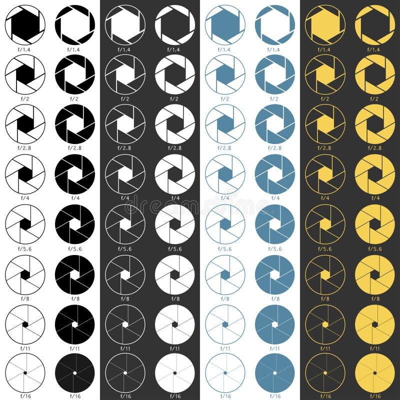 Ícones da escala da abertura ajustados ilustração stock