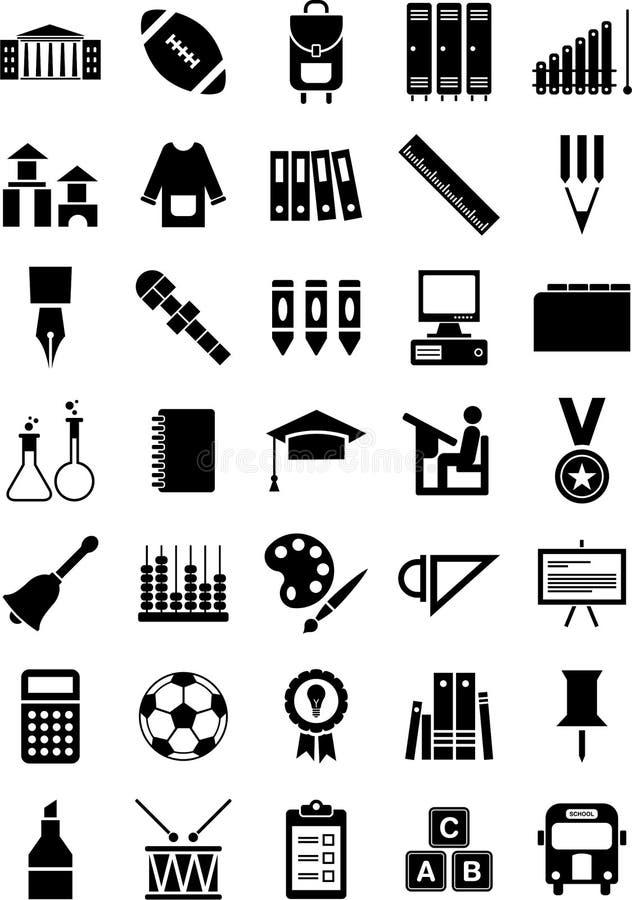Ícones da escola ilustração stock