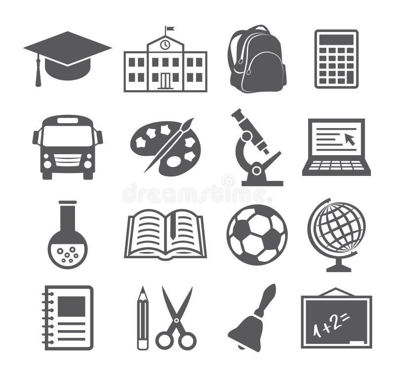 Ícones da escola e da educação ilustração do vetor