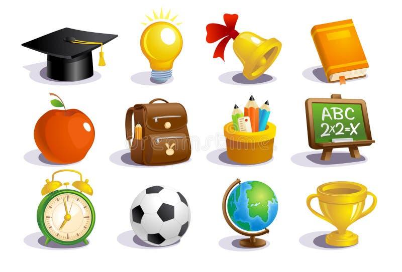 Ícones da escola e grupo de símbolos ilustração do vetor