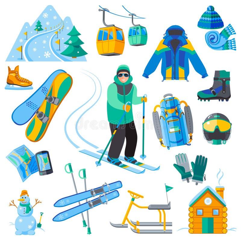 Ícones da estância de esqui ilustração royalty free