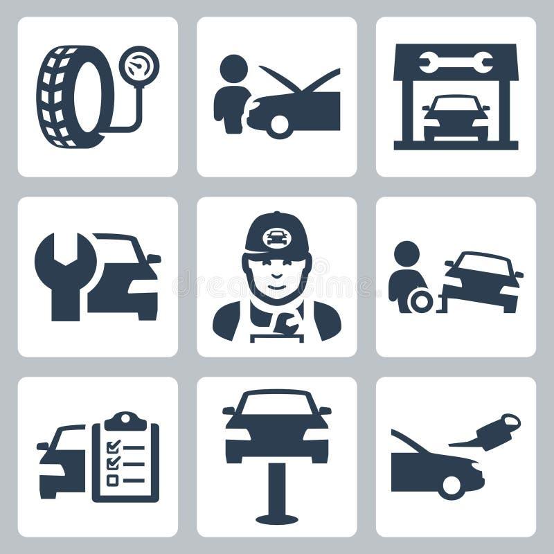 Ícones da estação do serviço do veículo do vetor ilustração stock