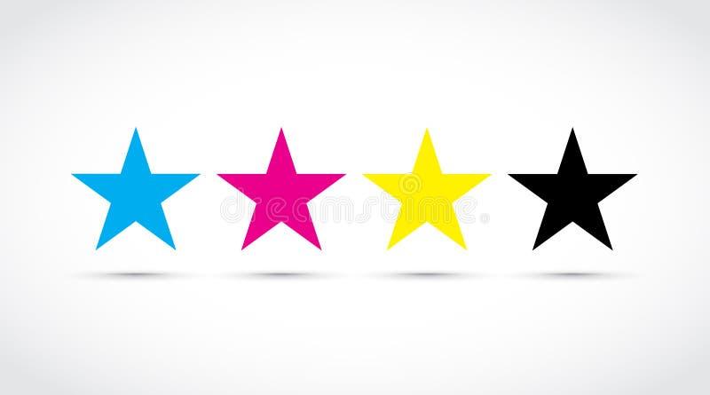 Ícones da estrela de Cmyk ilustração stock