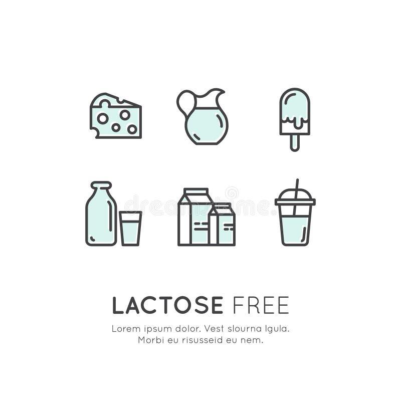 Ícones da etiqueta de Logo Set Badge Ingredient Warning Diário da lactose dos alérgenos, leite Vegetariano e símbolos orgânicos I ilustração stock