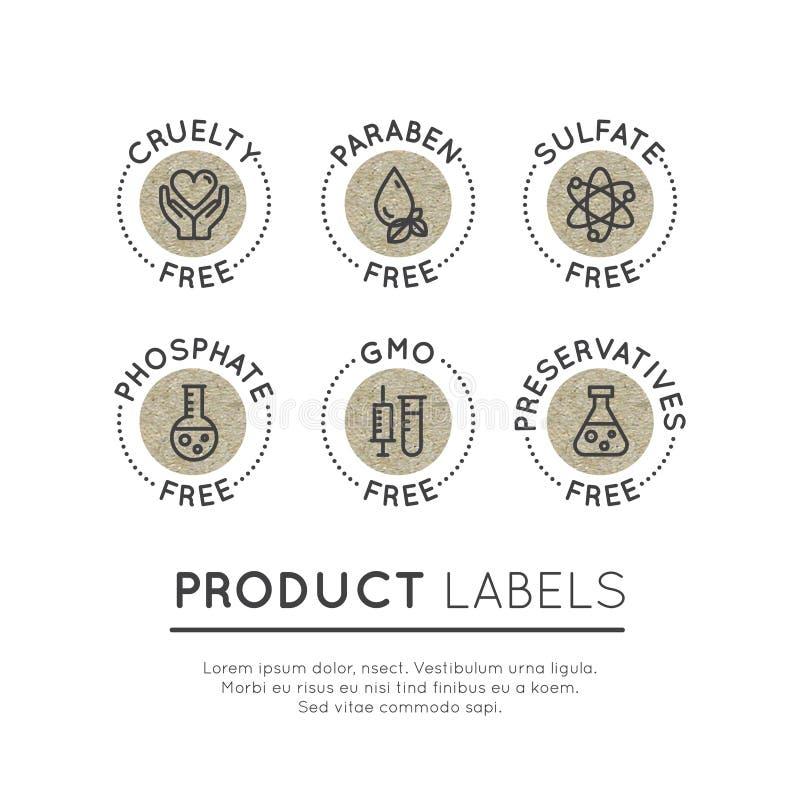 Ícones da etiqueta de Logo Set Badge Ingredient Warning GMO, SLS, Paraben, crueldade, sulfato, sódio, fosfato, silicone imagens de stock