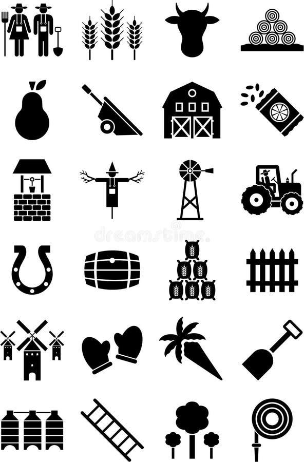 Ícones da exploração agrícola ilustração royalty free