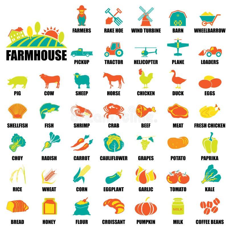 Ícones da exploração agrícola ajustados ilustração stock