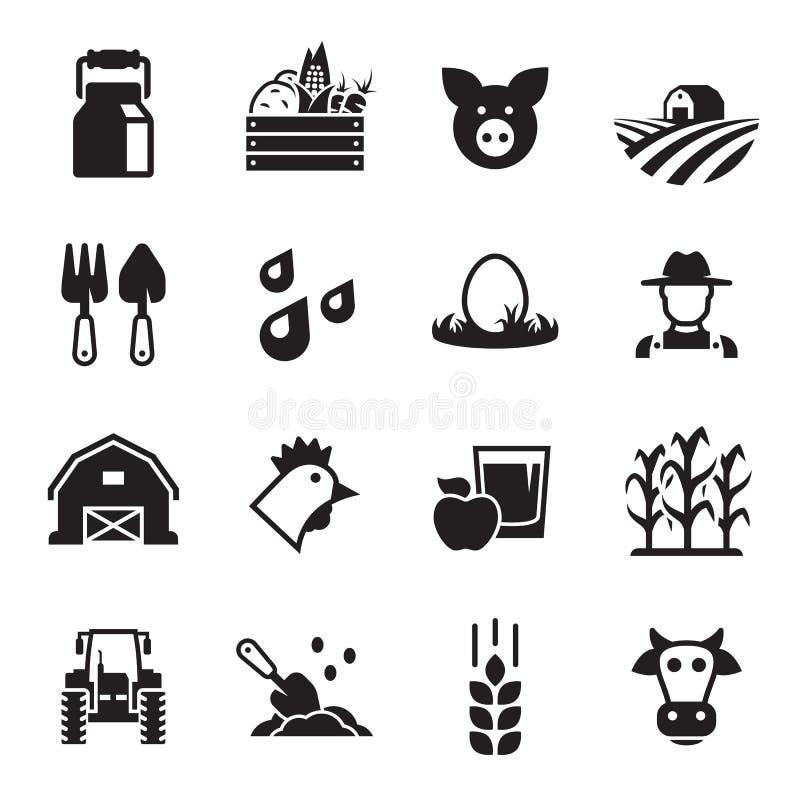 Ícones da exploração agrícola ajustados imagens de stock