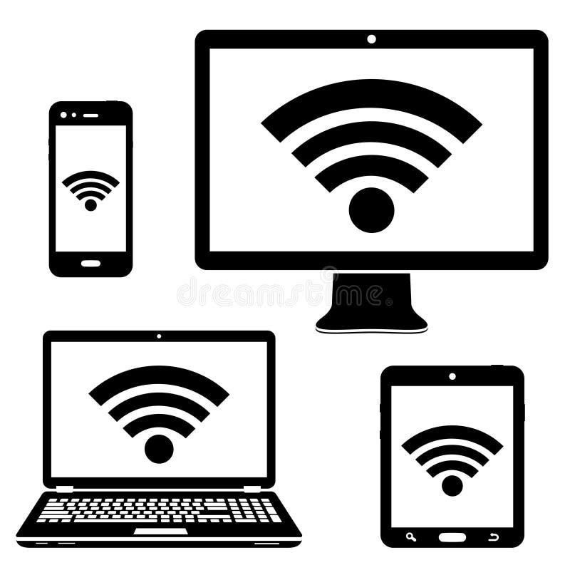 Ícones da exposição de computador, do portátil, da tabuleta e do smartphone com símbolo da conexão a Internet do wifi ilustração royalty free