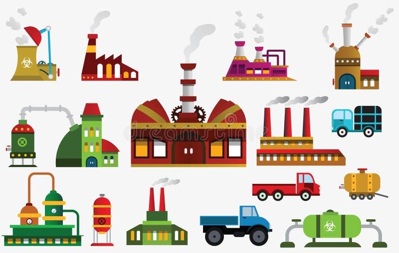 Ícones da fábrica ilustração royalty free