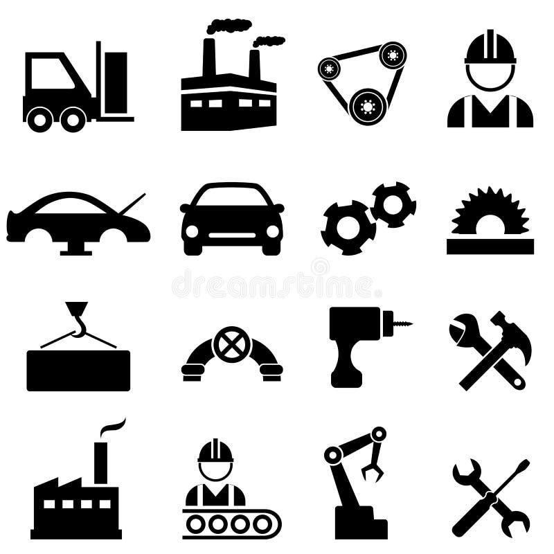 Ícones da fábrica, da fabricação e da indústria ilustração royalty free
