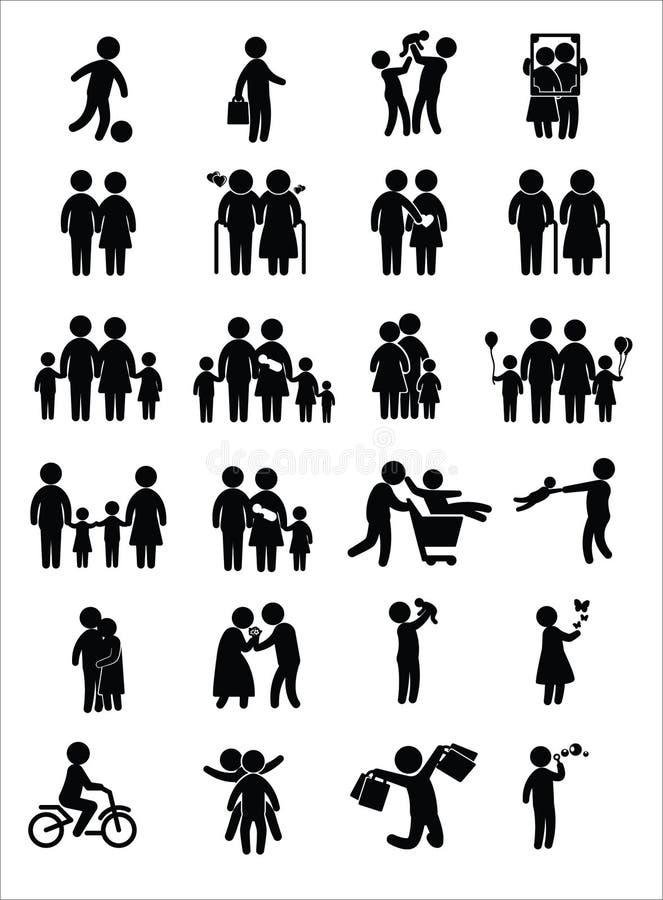 Ícones da família ilustração do vetor